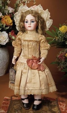 Bread and Roses - Auction - July 26, 2016: Lot #27 French Bisque Bebe by Leon Casimir Bru with Original Costume and Signed Bru Shoes