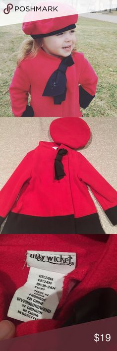 Lilly Wick jacket and hat set size 24M Lilly Wick jacket and hat set size 24M.  Fleece like feel with a faux leather bow.  Easy snap buttons make for adorable look.    Make an offer.   Only worn a few times excellent used condition EUC lilly wick Matching Sets