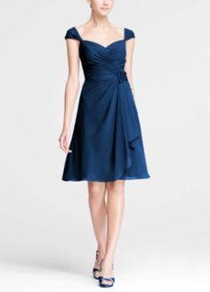 Chiffon Sweetheart Short Dress with Cap Sleeves Style F15406  $149.00  at Davids Bridal