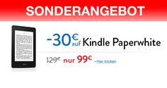 Kindle Paperwhite für 99€ (30€ billiger) SONDERANGEBOT! - http://apfeleimer.de/2014/01/kindle-paperwhite-fuer-99e-30e-billiger-sonderangebot - Kindle Paperwhite billiger um 30 Euro reduziert und somit aktuell für nur 99 Euro! Machen wir uns nichts vor: im Bereich Ebook Reader ist der Amazon Kindle ganz vorne mit dabei. Während der Original Amazon Kindle für 49 Euro über den virtuellen Tresen wandert wird nun aktuell auch der hin...