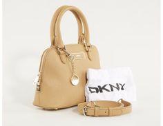 Beige DKNY Small Round Satchel