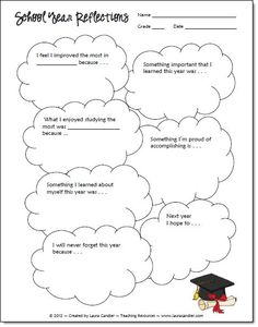 School Year Reflections freebie from Laura Candler - includes a blank template to customize with your own questions or topics.