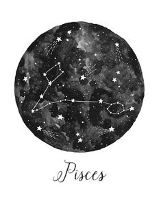 Pisces Constellation Illustration Vertical by fercute on Etsy