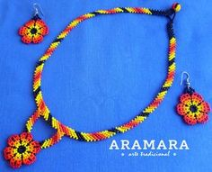 Mexican Huichol Beaded Necklace and Earrings set JGO-0022