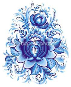 Gzhel Pattern | Blue flower in gzhel style | Patterns&Prints
