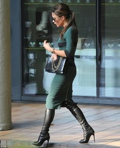 Victoria Beckham wearing Rolex Day Date Presidential Wristwatch with Champagne Stick Dial, Victoria Beckham Hexagonal Chain Crocodile Bag, Victoria Beckham Fine Square Metal Temples Sunglasses, Tom Ford Knee-High Peep-Toe Boots, Victoria Beckham Autumnwinter 2012 Dress and Victoria Beckham Feminine Square Sunglasses.