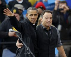 President Barack Obama with Bruce Springsteen during 2012 re-election campaign.