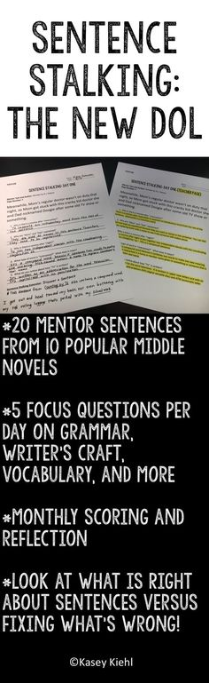Sentence Stalking is when students look at rich mentor sentences and learn about grammar, writing, vocabulary, and more through the sentences. Ditch the traditional DOL and try this resource instead!
