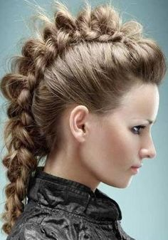 hair styles by Emel Braided Mohawk Hairstyles, Mohawk Braid, Braided Hairstyles Tutorials, Trendy Hairstyles, Viking Hairstyles, Easy Hairstyle, School Hairstyles, African Hairstyles, Bridal Hair