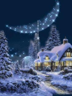 evening winter 4 Christmas Cover, Christmas Scenes, Winter Christmas, Animated Christmas Wallpaper, Xmas Wallpaper, Winter Pictures, Christmas Pictures, Snow Theme, Vintage Christmas Images