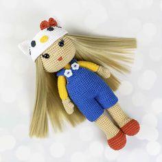 Crochet doll in Hello Kitty costume