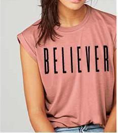 B E L I E V E R  Rose Rolled Sleeve Muscle Tee.   Christian tshirt gift mom wife friend
