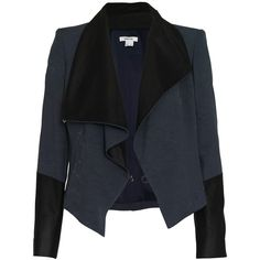 Helmut Lang Draped jacket with leather (€284) ❤ liked on Polyvore featuring outerwear, jackets, coats, coats & jackets, tops, dusty blue, zipper leather jacket, draped leather jackets, thin leather jacket and thin jackets