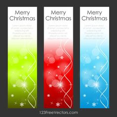 Merry Christmas Vertical Banners Vector Graphic