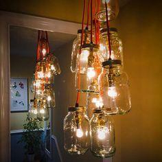 #Kilner Jar Lights Kilner Jars, Jar Lights, Mason Jar Lamp, Jar Crafts, Table Lamp, Craft Ideas, Make It Yourself, Projects, Diy