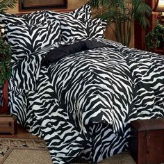 Bedroom Zebra Bedding  -  The black and white striped zebra bedding evokes images and settings of an African safari and adds an exotic flare to any bedroom decoration. Decorati...
