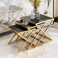 Search results for: 'stylish 3 piece nesting side table black tempered glass nesting end table with gold x base' Corner Table Living Room, Sofa Side Table, Side Tables, Metal Furniture, Living Room Furniture, Home Furniture, Tea Table Design, Nesting End Tables, Black Side Table