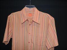 Hugo Boss Designer Orange Label Orange Striped Casual Camp Shirt SZ L Mint #HugoBoss #ButtonFront