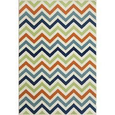 Add a pop of pattern to the den or sunroom with this vibrant rug, featuring a chic chevron motif.Features:Material: 100% Poly...