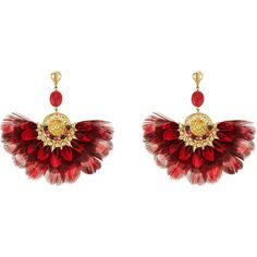 Gas Bijoux 24kt Gold Plated Earrings (€265) ❤ liked on Polyvore featuring jewelry, earrings, magenta, feather jewelry, gas bijoux, earring jewelry, gold plated jewellery and gold plated earrings
