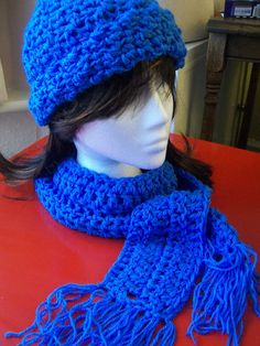 Winter warmer set.  Crocheted blue hat and scarf set.