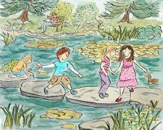#botanicalgardens #steppingstones children carefully pick their way across the stepping stones