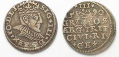 1590 Riga RIGA 3 Groschen (Trojak) 1590 GE SIGISMUND III of POLAND silver VF/VF+ # 95137 VF/VF+