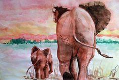 """Saatchi Online Artist: Paula Steffensen; Watercolor, 2011, Painting """"Elephants I."""""""