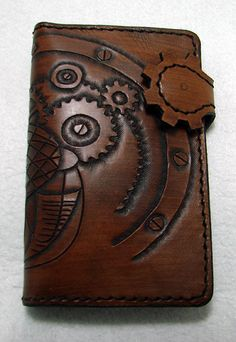 Small Cow leather wallet style biker steampunk by anotherwayoflife, €35.00