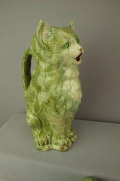 """Majolica figural cat pitcher, 10 1/4"""""""