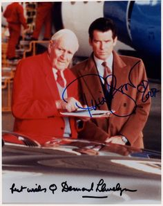 JAMES BONDS DESMOND LIEWELY & PIERCE BROSNAN AUTOGRAPHED PHOTO