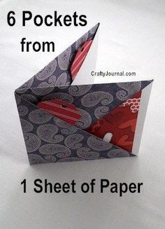 Cool way to fold a 6 pocket paper book – Recycled Crafts This is so cute and I bet would be fun to make for Valentine's Day out of pretty heart themed papers like these. It could be filled with all sorts of goodies to give a scrapbooker or planner … Fun Fold Cards, Folded Cards, Art Postal, Diy Papier, Up Book, Book Art, Paper Book, Paper Paper, Paper Cards