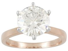 Moissanite Fire(Tm) 3.10ct Dew 14k Rose Gold Over Sterling Silver Solitaire Ring