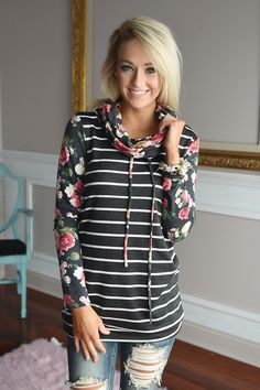 Floral and Stripes Cowl Neck Top – The Pulse Boutique