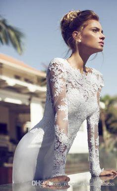 Modest 2015 Wedding Dresses Lace Applique A Line Crew Neck V Back Open Court Train Satin Berta Bridal Gown Wedding Gowns Galia Lahav