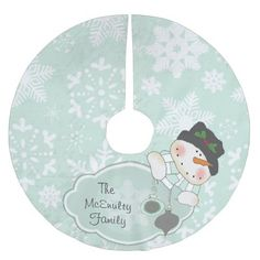 Blue Snowflake and Snowman Holiday Tree Skirt