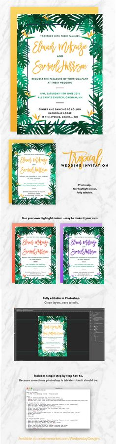 Such a fun, fresh wedding invite. Super easy to customise - perfect for DIY Weddings. Change the colour to suit your theme, save + print! Diy Wedding Invitations Templates, Simple Wedding Invitations, Invites, Simple Weddings, Easy Peasy, Super Easy, Wednesday, Easy Diy, Tropical