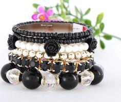 Handmade Pearl and Resin Elastic Beads Fashion Black Bracelets