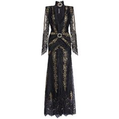 Alessandra Rich Black And Gold Lace Gown ($3,889) ❤ liked on Polyvore featuring dresses, gowns, sheer evening gown, evening gowns, lace dress, lace evening dresses and holiday dresses