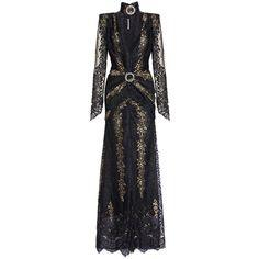 Gold V-Neck Lace Dress