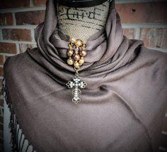 Gold and filigree cross rhinestone scarf wrap by KConklinJewelry on Etsy