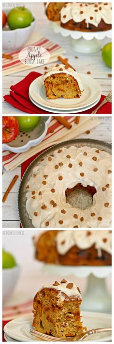 Chunky Apple Bundt Cake with Cinnamon Cream Cheese Frosting is the perfect way to celebrate the return of Autumn!! SO yummy and easy!! - The Cookie Rookie