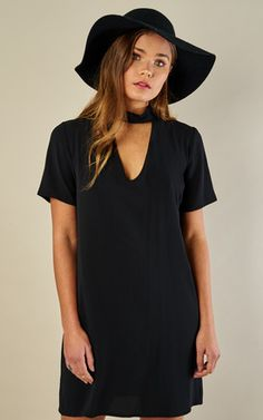 Black Choker Shift Dress