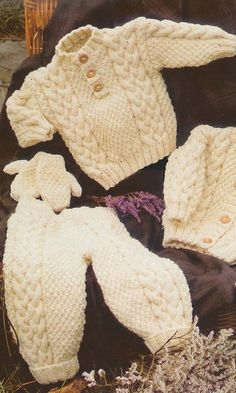Baby Sweater, Jacket, Trousers, Hat and Mittens Knitting Pattern. You will require Aran yarn, & Baby Mittens, Knitted Baby Blankets, Knit Mittens, Knitted Gloves, Mittens Pattern, Baby Knitting Patterns, Crochet Baby Jacket, Baby Pullover, Jacket Pattern