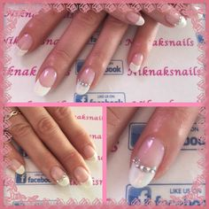French manicure gel polish on natural nails