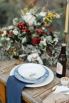Rustic Winter wedding Inspiration| Blue and Red Table | photography by http://www.rebeccahollis.com