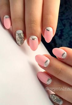 Nice Pink Manicure with Glitter Accents picture 1 Nail Designs Pictures, Pink Nail Designs, Cute Nails, Pretty Nails, Plain Nails, Pink Manicure, Bright Nails, Coral Nails, Crystal Nails