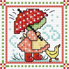 """April"" Sunbonnet Sue and Sal 2018 by Lesley Teare Cross Stitch Family, Tiny Cross Stitch, Cross Stitch Cards, Simple Cross Stitch, Cross Stitching, Cross Stitch Embroidery, Sunbonnet Sue, Applique Quilt Patterns, Embroidery Patterns"