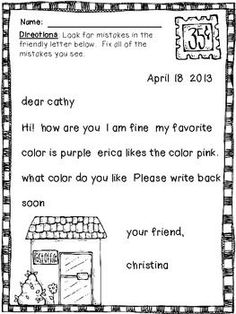 friendly letter worksheet