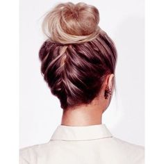 Pretty High Bun For Prom ❤ liked on Polyvore featuring beauty products, haircare, hair styling tools, hair and hairstyles